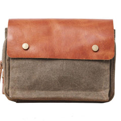Canvas Leather Mens Belt Pouch Waist Bag Fanny Pack Small Side Bag for Men