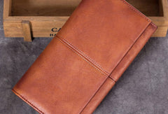 Genuine Leather Wallet Folded Long Wallet Vintage Tooling Wallet Purse For Men Women