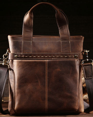 Vintage Leather Men Handbag Briefcase Shoulder Bag Work Bag For Men