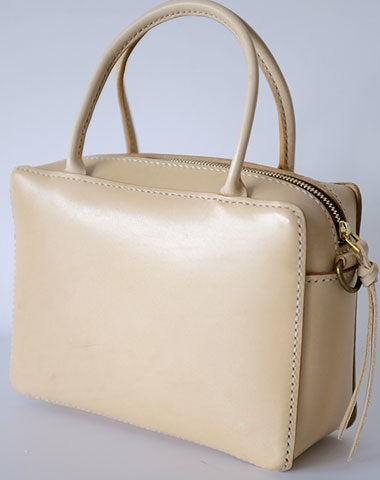 Handmade Leather Beige Womens Small Handbag Shoulder Bag Crossbody Purse for Women
