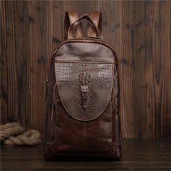 Cool Brown Leather Men's Sling Bag One Shoulder Backpack Black Sling Crossbody Pack For Men