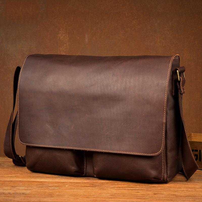 Cool Brown Leather 13 inches Mens Courier Bag Messenger Bags Postman Bag for Men