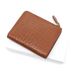 Leather Mens Zipper Small Wallet Slim Wallet Front Pocket Wallet Short Card Wallet for Men