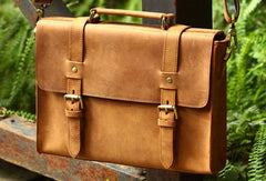 Handmade Leather Mens Cool Messenger Bag Briefcase Square Bag Chest Bag Bike Bag Cycling Bag for men