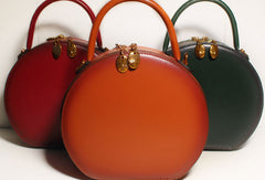 Women Leather round circle handbag shoulder bag for women leather crossbody bag