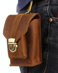 Cool Brown Leather Cell Phone HOLSTER Belt Pouches for Men Waist Bags BELT BAG For Men