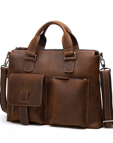 Vintage Leather Men Briefcase Work Bag Business Bag Laptop Bags For Men