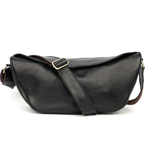 Brown Cool Leather Mens Saddle Messenger Bag Black Courier Bag Black Postman Bag For Men