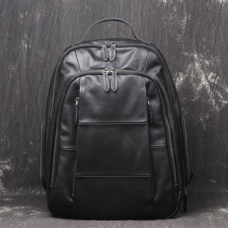 Black Leather Men's 14inch Computer Backpack Travel Backpack College Backpack For Men