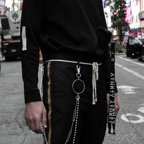 Fashion Men's Womens Double Bead Stainless Steel Pants Chain Biker Wallet Chain For Men