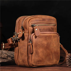 Vintage Brown Leather Men's Waist Belt Pouches Cell Phone Holsters Mini Side Bag For Men