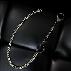 Badass Silver Mens Pants Chain Cool Hand-Cuffs Wallet Chain For Men