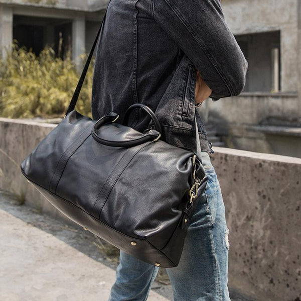 "Black Leather Mens 16"" Weekender Bag Travel Shoulder Bag Black Luggage Duffle Bag for Men"