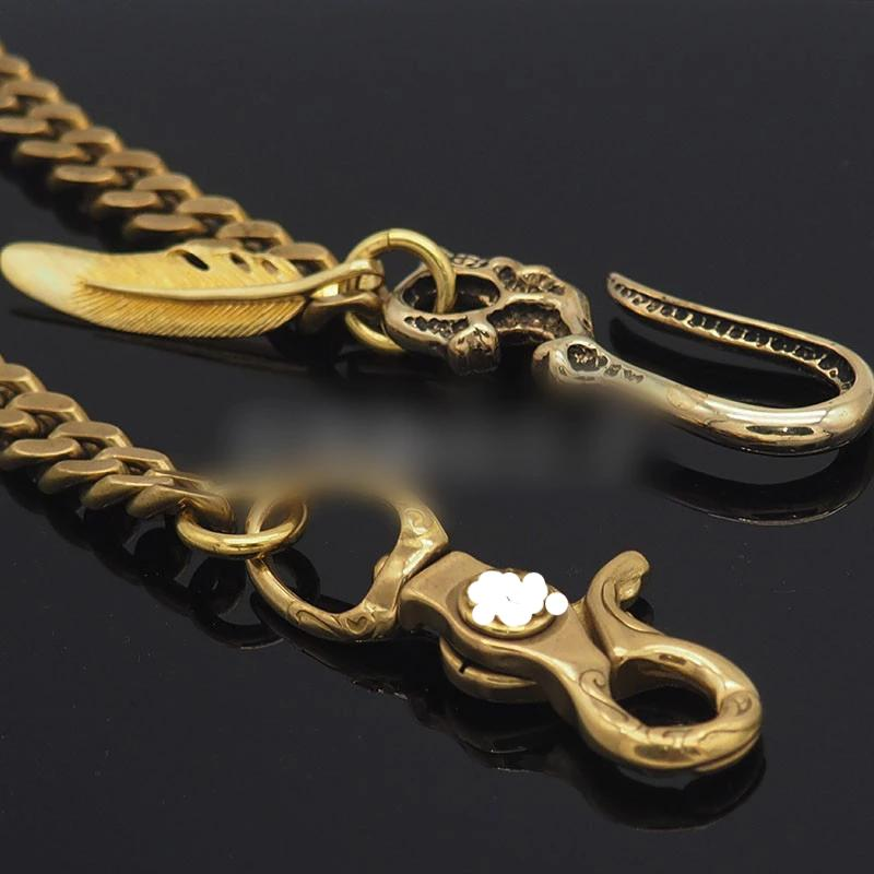 Cool Skull Mens Brass Wallet Chain Key Chain Wallet Gold Chain Pants Chain For Men