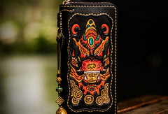 Handmade leather Chinese Monster biker wallet long wallet black leather men phone