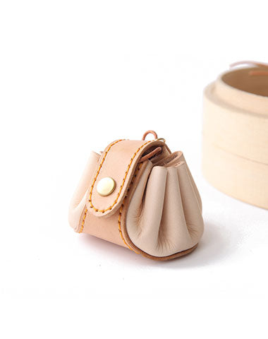 Cute Leather Womens Small Beige Change Wallet Coin Holder Change Holder for Women