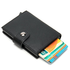 Cool RFID Black Leather Men's Card Holder Card Bifold Small Wallet For Men