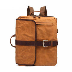 Waxed Canvas Leather Mens Cool Backpack Canvas Handbag Canvas Shoulder Bag for Men