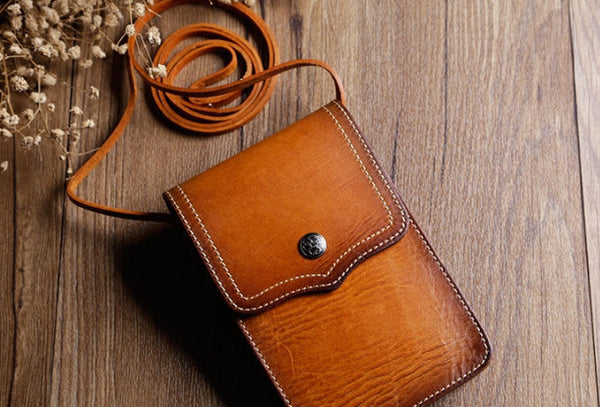 Handmade Leather phone bag shoulder bag for women leather crossbody bag