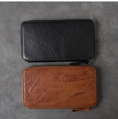 Black Leather Mens Long Wallet Zipper Brown Clutch Phone Wallet For Men