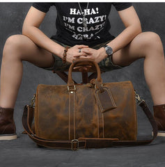 Retro Brown Leather Men's Business Overnight Bag Large Travel Bag Duffel Bag Weekender Bag For Men