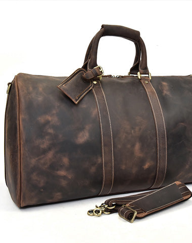 Cool Leather Mens Weekender Bag Vintage Coffee Travel Bag Duffle Bags Overnight Bag Holdall Bag for men
