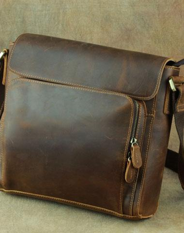 Leather Brown Mens Vintage Small Side Bag Shoulder Bags Small Messenger Bag For Men