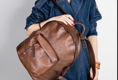 Handmade Leather Large Travel Bag Backpack Bag Shoulder Bag Laptop Women Leather Purse