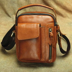 Brown Leather Men's Vertical Messenger Bag Side Bag Tablet Bag For Men