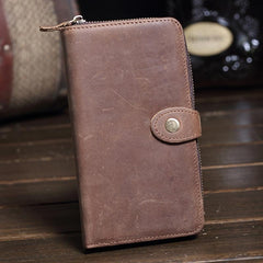 Vintage Brown Leather Men's Bifold Long Wallet Cool Zipper Long Wallet Clutch For Men
