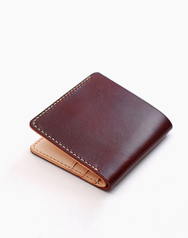 Handmade Leather Minimalist Black Red Womens Mens Bifold Small Wallet billfold Wallets for Men