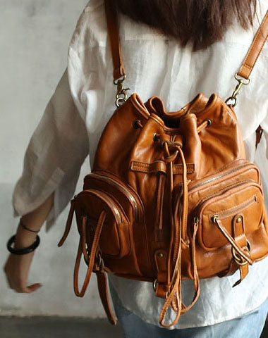 Vintage LEATHER WOMEN Barrel Backpack Handmade School Bucket Backpack FOR WOMEN