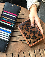 Cute Womens Horse Hair Leopard Print Leather Card Wallets Card Clutch Wallet Zip Card Holder Wallet for Women