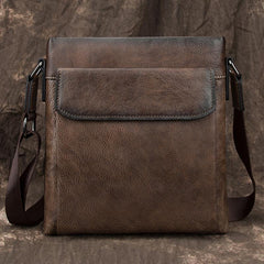 Cool Leather Men's 10 inches Courier Bag Brown Small Vertical Messenger Bag Brown Side Bag For Men