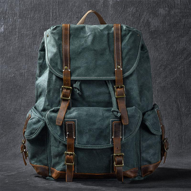"Waxed Canvas Leather Mens Womens 16"" Khaki Backpack Green Travel Backpack College Backpack for Men"