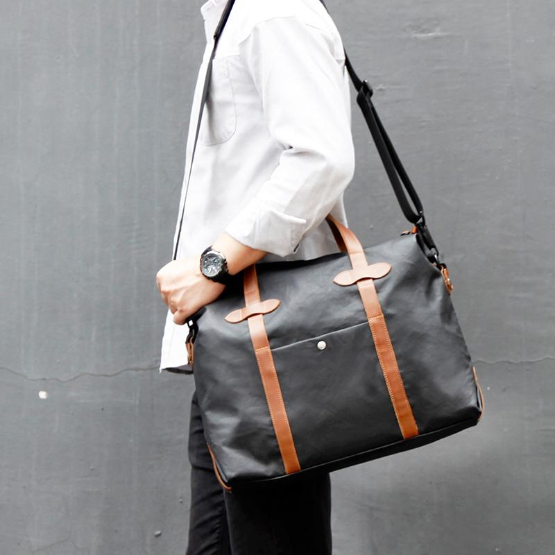 Fashion PVC Canvas Black Men's Large Handbag Briefcase Business Laptop Business For Men