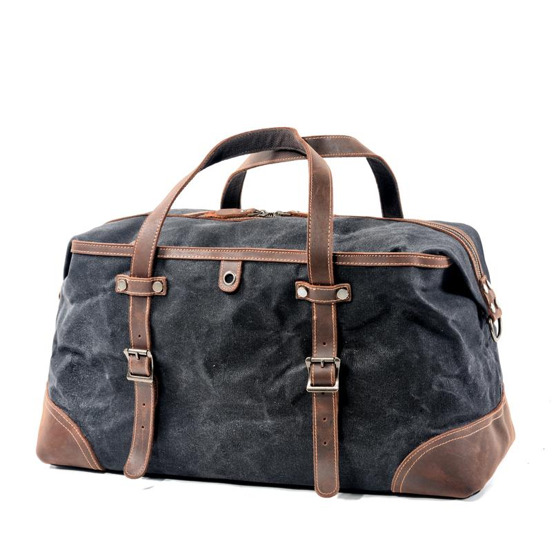 Casual Waxed Canvas Leather Mens Large Travel Green Weekender Bag Black Duffle Bag for Men