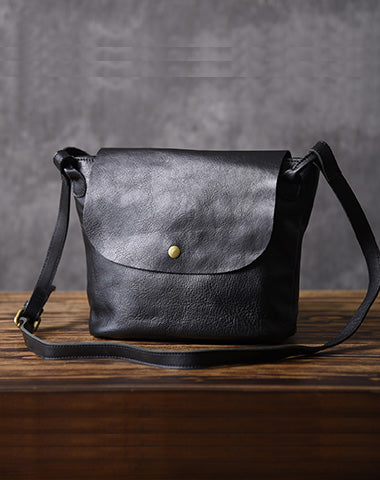 Leather Women Bucket Bag Black Shoulder Bag For Women