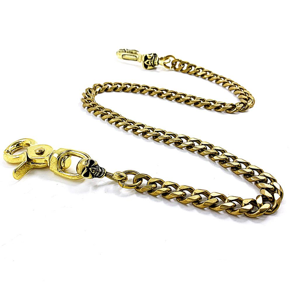 "Fashion Brass 19"" Skull Mens Pants Chain Gold Wallet Chain Motorcycle Wallet Chain for Men"