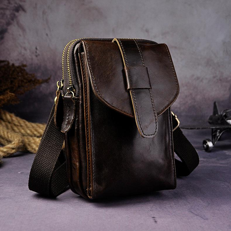 5e4bd3becaf Fashion Leather Men's Belt Pouch Cell Phone Holsters Brown Mini Waist Bag  For Men