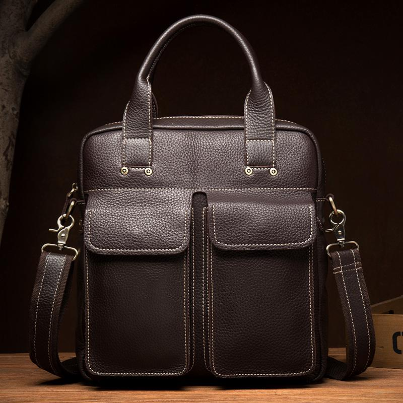 Fashion Black Leather 12 inches Vertical Briefcase Work Shoulder Bag Black Messenger Bag Computer Work Bag for Men