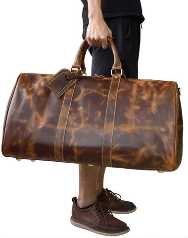Vintage Leather Mens Large Weekender Bag Travel Bag Duffle Bag