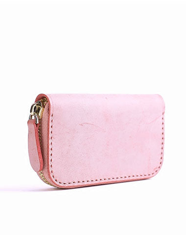 Handmade Cute LEATHER Womens Zipper Key Wallet Leather Key Holders FOR Women
