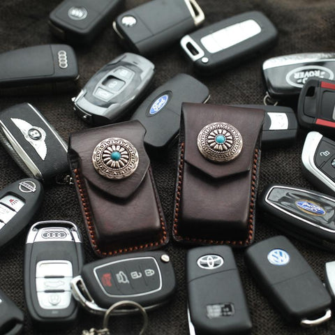Cool Handmade Leather Mens Car Key Case Car Key Holder with Belt Loop For Men