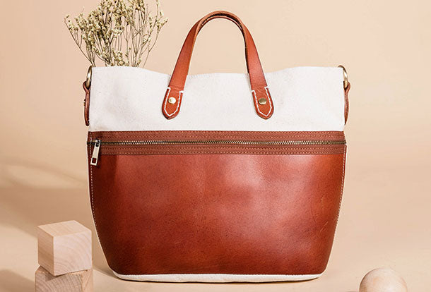 Genuine Leather Handbag Canvas Handbag Shoulder Bag Purse For Women