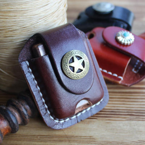 Handmade Mens Brown Leather Classic Zippo Lighter Case Zippo Lighter Holder with Belt Loop