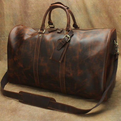 Large Leather Mens Barrel Overnight Bags Weekender Bag Travel Bags For Men