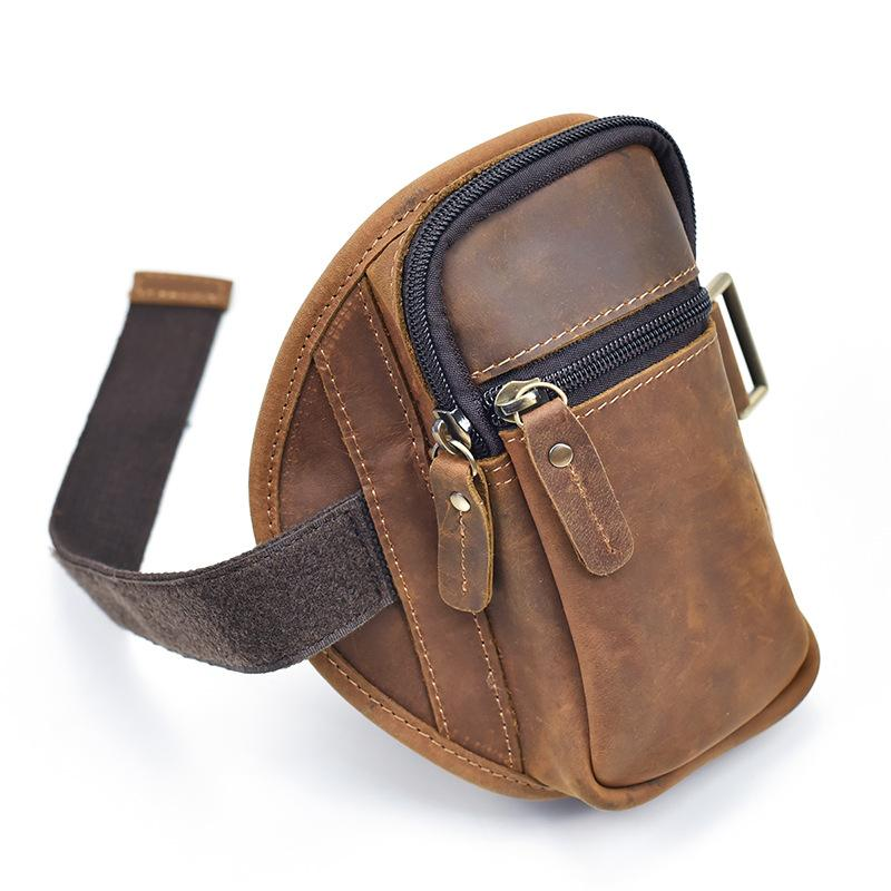 Brown Leather Cell Phone HOLSTER Arm Pouches for Men Arm Bags Arm HOLSTER For Men