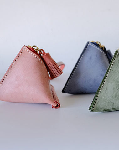 Cute Triangular LEATHER Womens Small Coin Wallet Leather Change Small Wallet FOR Women