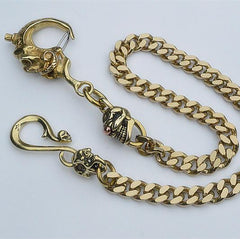 Badass Men's Gold Brass Skull Biker Wallet Chain Key Chain Pants Chain For Men